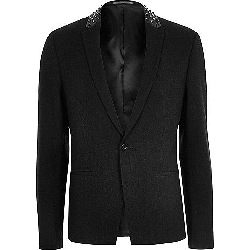 Dark grey stud slim fit blazer