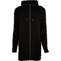 Black longline zip up hoodie