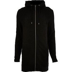 Black longline hoodie