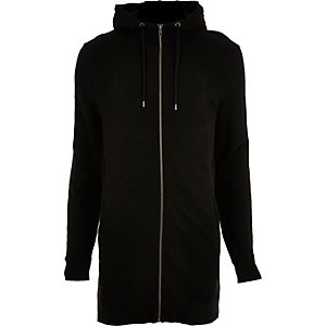 Black longline zip up hoodie