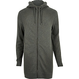 Dark green longline zip up hoodie