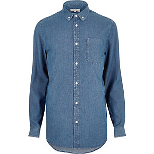 Mid blue wash denim shirt