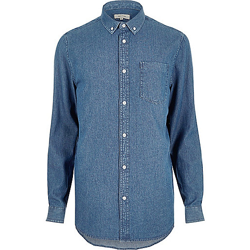 Mid blue wash casual denim shirt