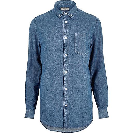 Mid blue wash denim shirt