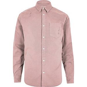 Pink overdyed denim shirt