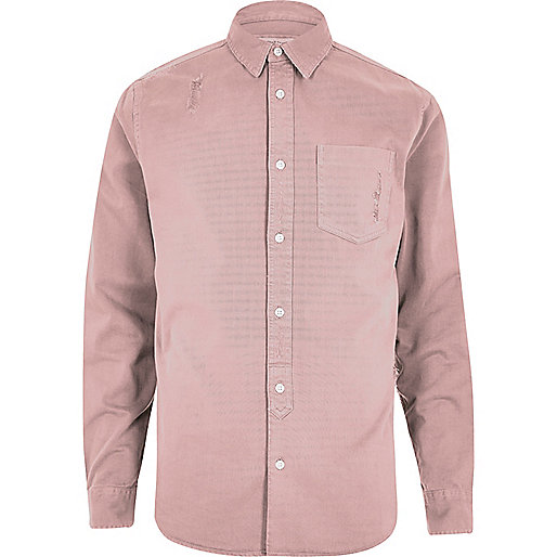 Pink overdyed denim shirt