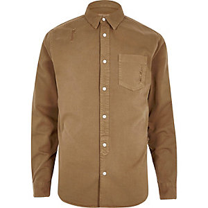 Camel casual distressed denim shirt