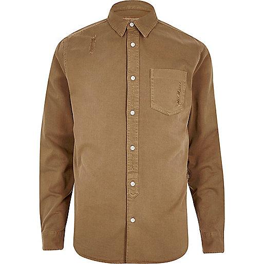 Camel casual distressed denim shirt
