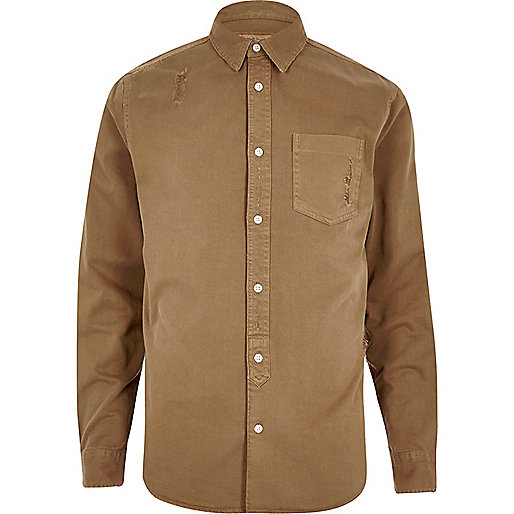 Camel overdyed denim shirt
