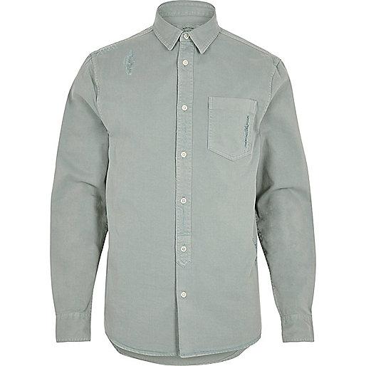 Mint overdyed denim shirt