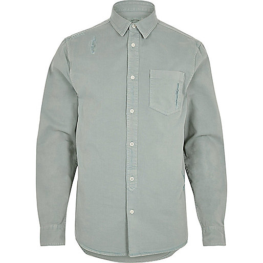 Mint overdyed denim shirt