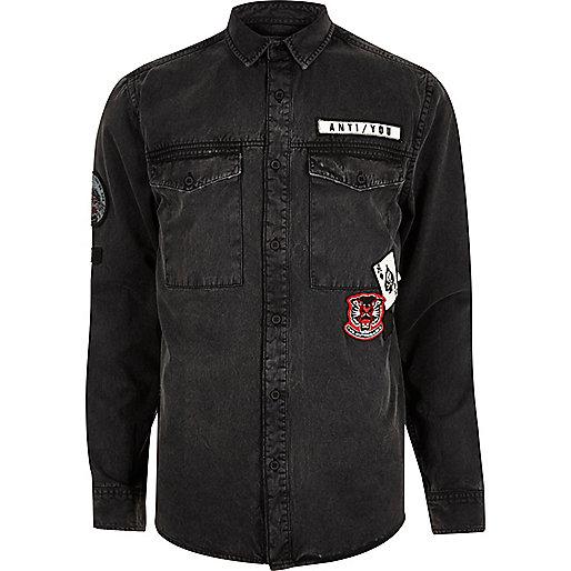 Black washed badge denim shirt