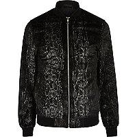 Black snake velvet bomber jacket