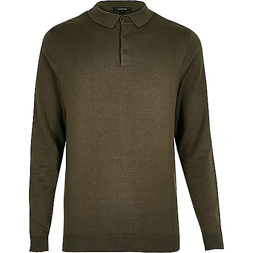 Khaki long sleeve polo shirt