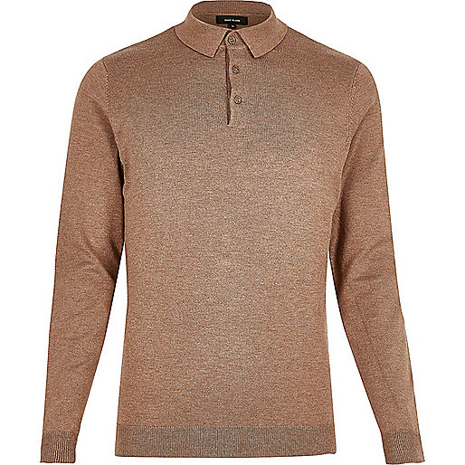 Brown long sleeve polo shirt