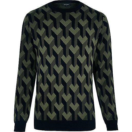 Dunkelgrüner Pullover mit 3D-Muster