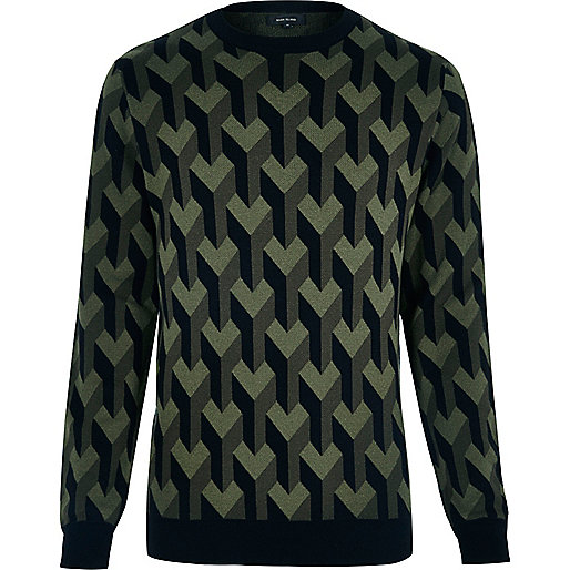 Dark green 3D pattern sweater