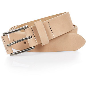 Ecru nubuck leather belt