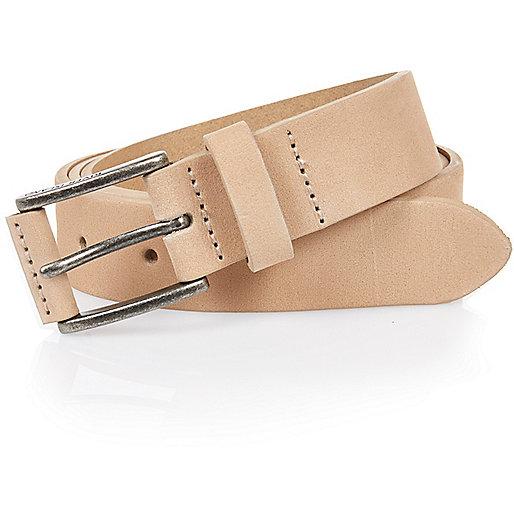 Ecru nubuck leather belt