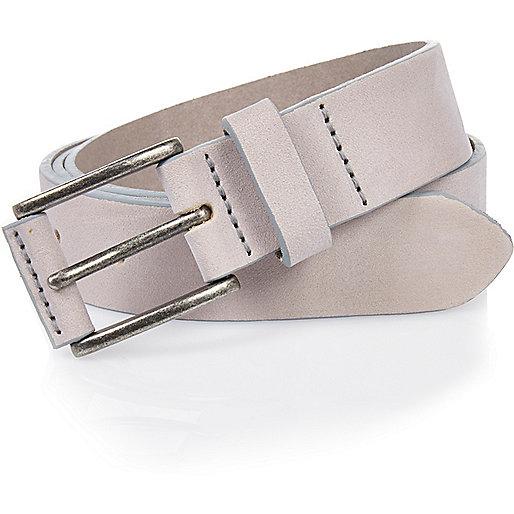 Nude nubuck leather belt