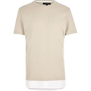 Ecru longline mock shirt T-shirt