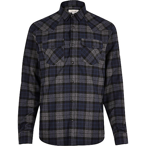 Navy checked Western shirt