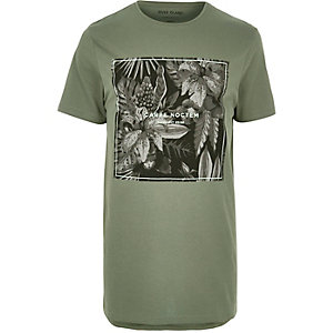 Green leaf print longline T-shirt
