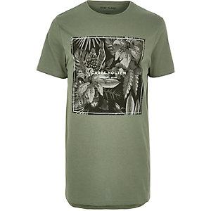 Green leaf print longline T-shirt