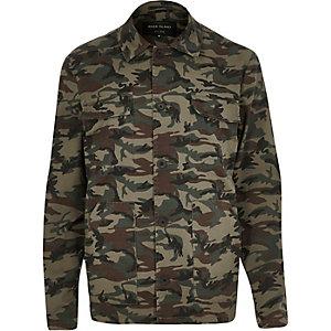 Green camouflage print jacket
