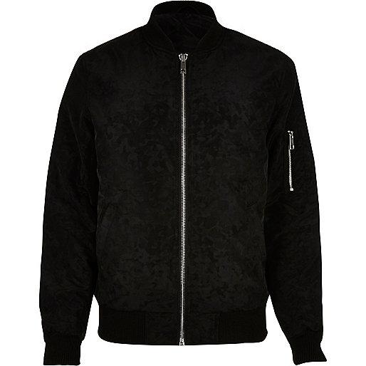 Black camo bomber jacket