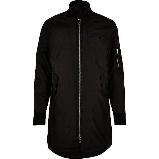Black longline bomber jacket