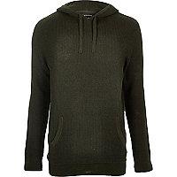 Dunkelgrüner Pullover mit Kapuze