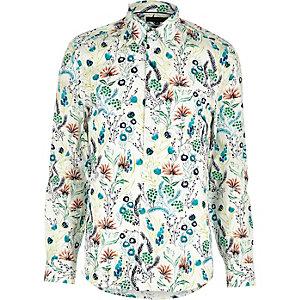 Ecru feather print shirt