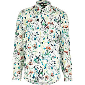 Ecru feather print shirt