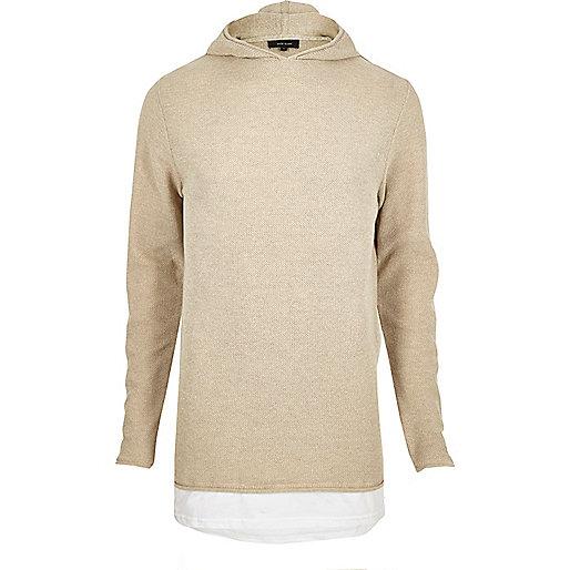 Stone textured layered longline hoodie