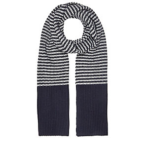 Blue stripe knit scarf