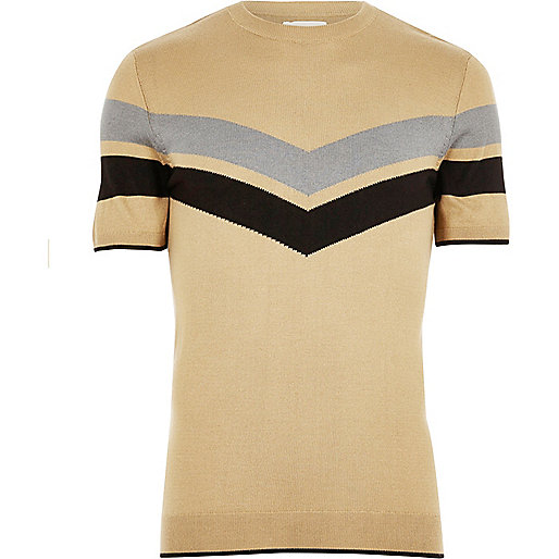 Light brown stripe panel T-shirt