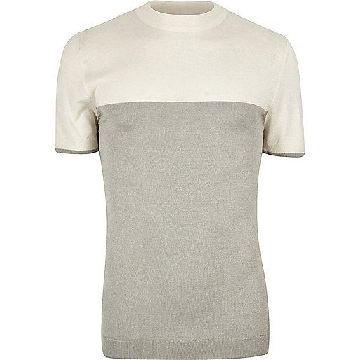 Ecru color block T-shirt