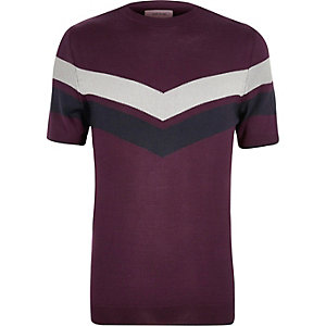 Purple stripe panel T-shirt
