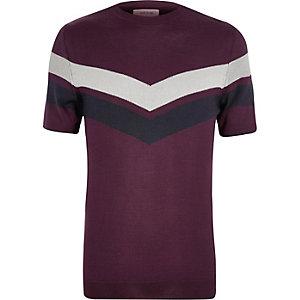 T-shirt violet à empiècement rayé