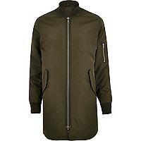 Green longline bomber jacket