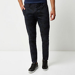 Navy washed camouflage skinny chino pants