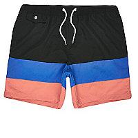 Black ice -cream stripe swim trunks