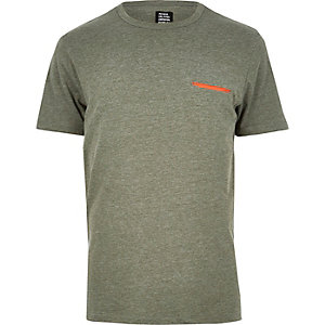 Green YMC contrast pocket T-shirt