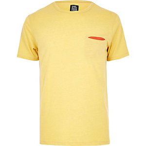 Yellow YMC contrast pocket T-shirt