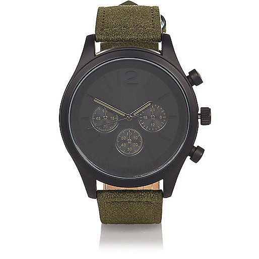 Khaki textile strap watch