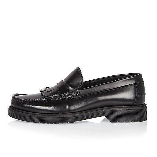 Black heavy sole loafers