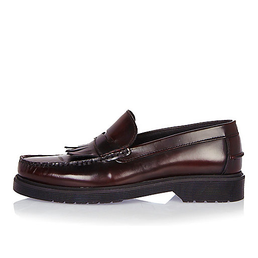 Dark red heavy sole loafers