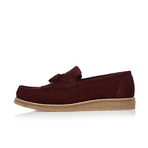 Dark red suede loafers