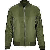 Khaki embroidered back bomber jacket